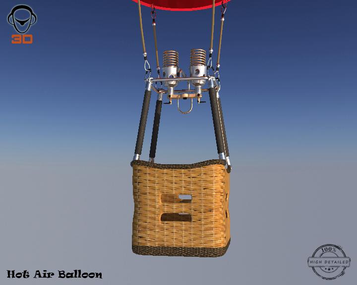 hot air balloon 3d model 3ds max fbx obj 207017