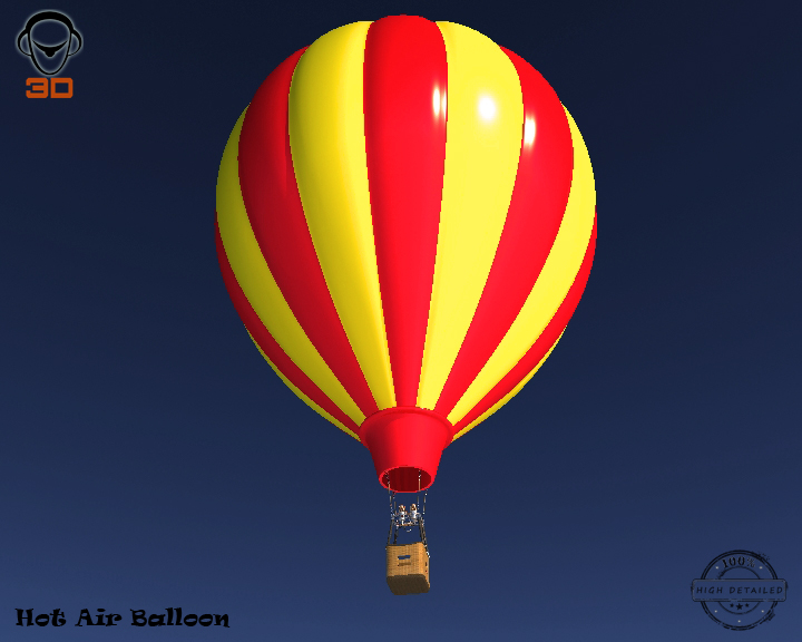 hot air balloon 3d model 3ds max fbx obj 207018