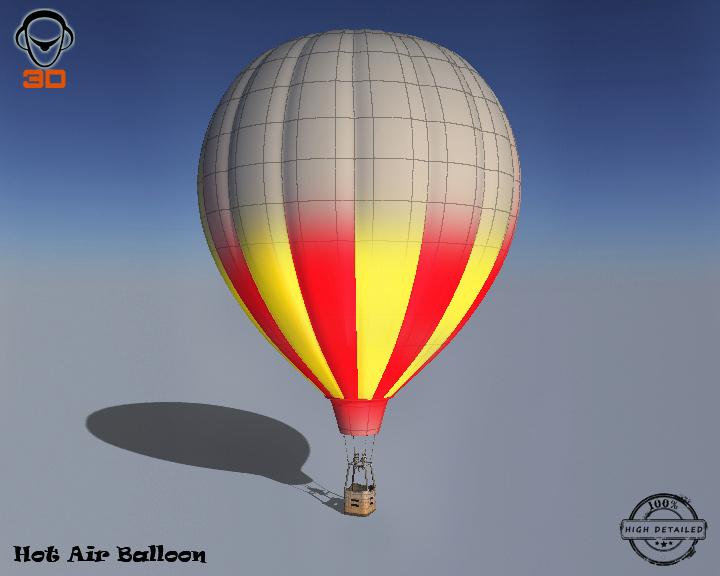 hot air balloon 3d model 3ds max fbx obj 207020