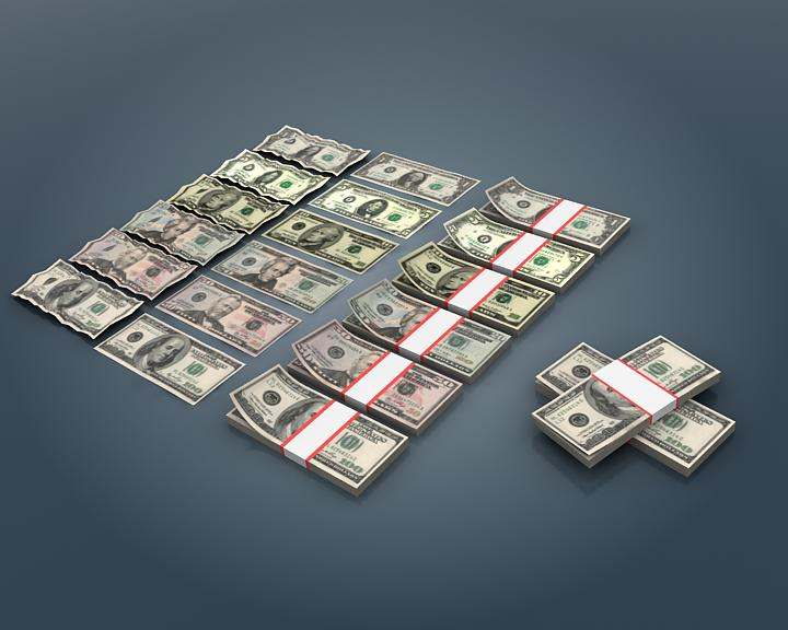 us dollar bill collection 3d model 3ds max fbx obj 207026