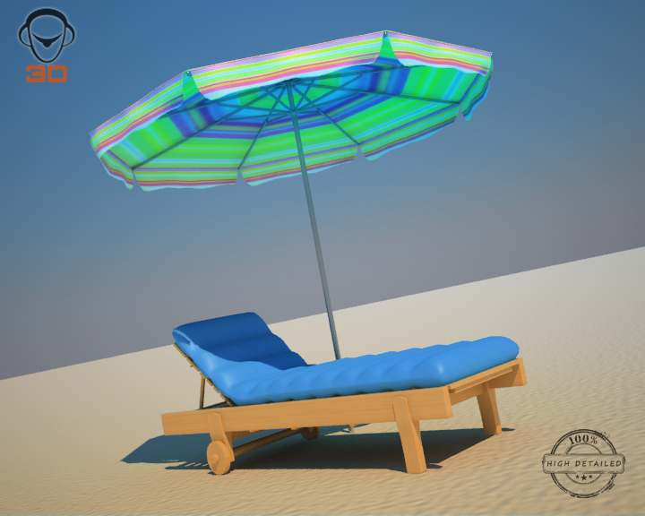 beach chair umbrella 3d model 3ds max fbx obj 207130