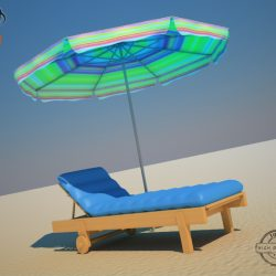 Beach Chair Umbrella 3d model 3ds max fbx obj