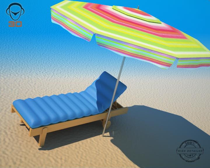 beach chair umbrella 3d model 3ds max fbx obj 207131