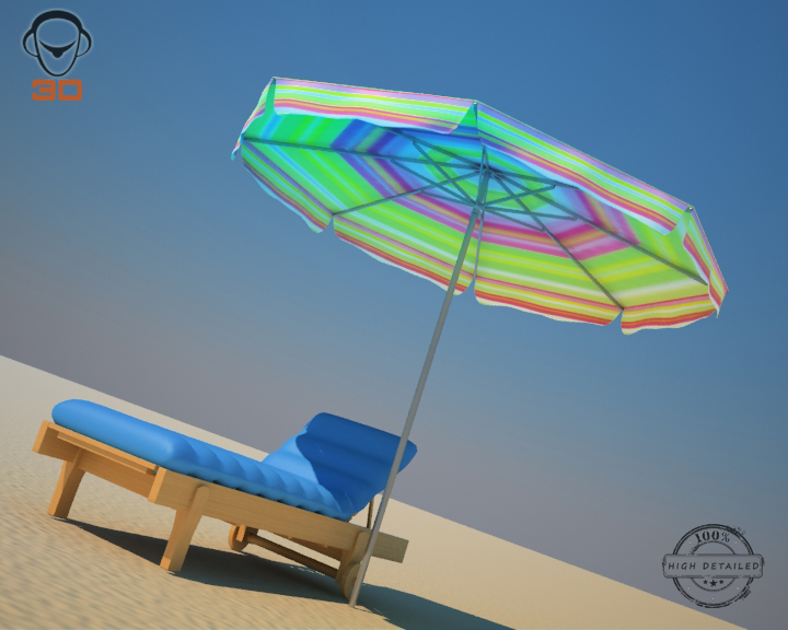 beach chair umbrella 3d model 3ds max fbx obj 207132