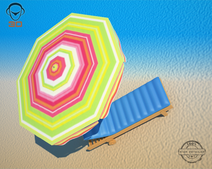 beach chair umbrella 3d model 3ds max fbx obj 207133