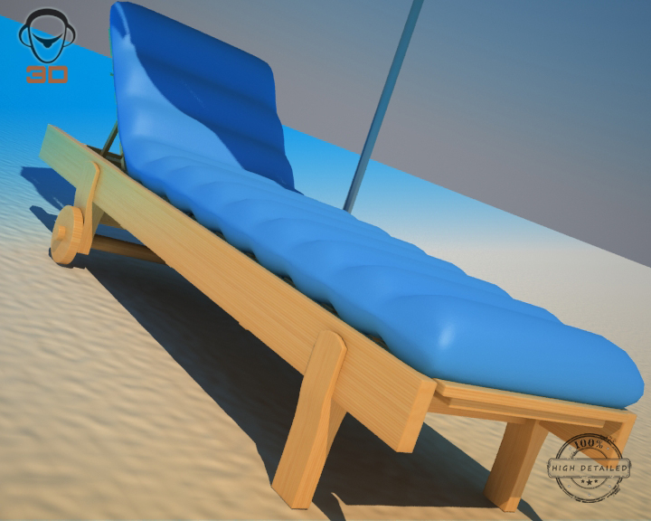 beach chair umbrella 3d model 3ds max fbx obj 207134