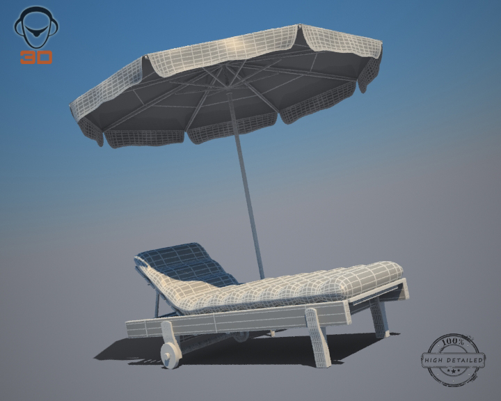 beach chair umbrella 3d model 3ds max fbx obj 207136