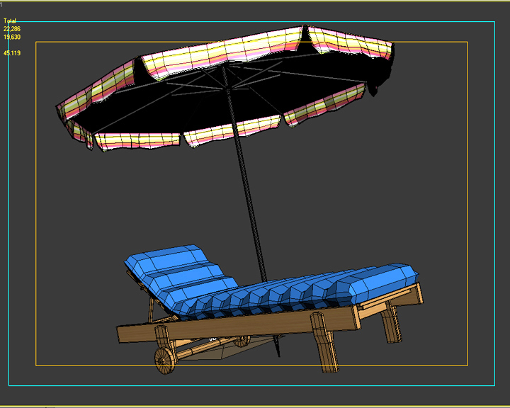 beach chair umbrella 3d model 3ds max fbx obj 207139