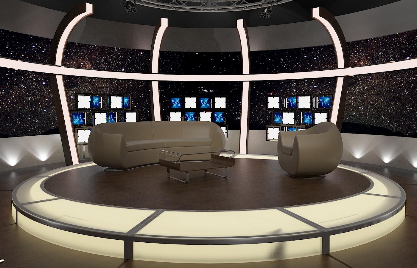 virtual tv chat set 20 3d model max dxf fbx obj 207154
