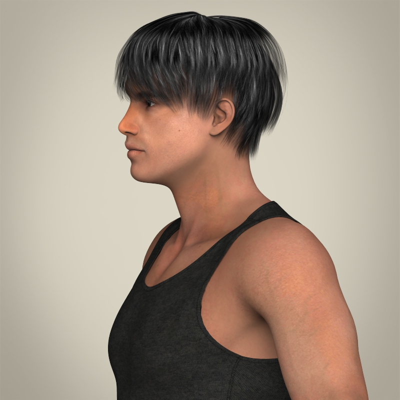realistic muscular handsome guy 3d model 3ds max fbx c4d lwo ma mb texture obj 207245