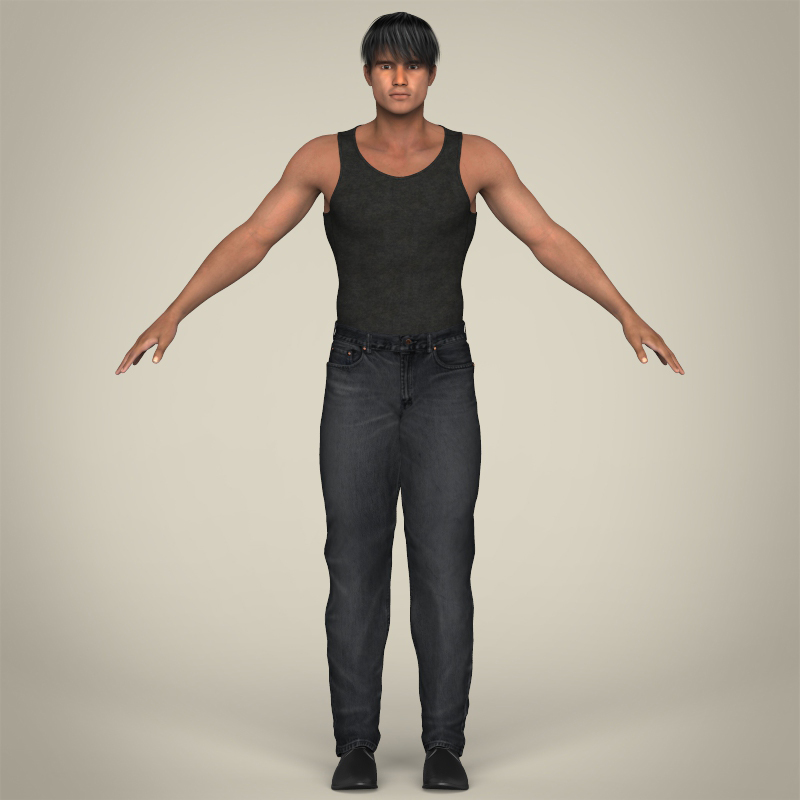 realistic muscular handsome guy 3d model 3ds max fbx c4d lwo ma mb texture obj 207251