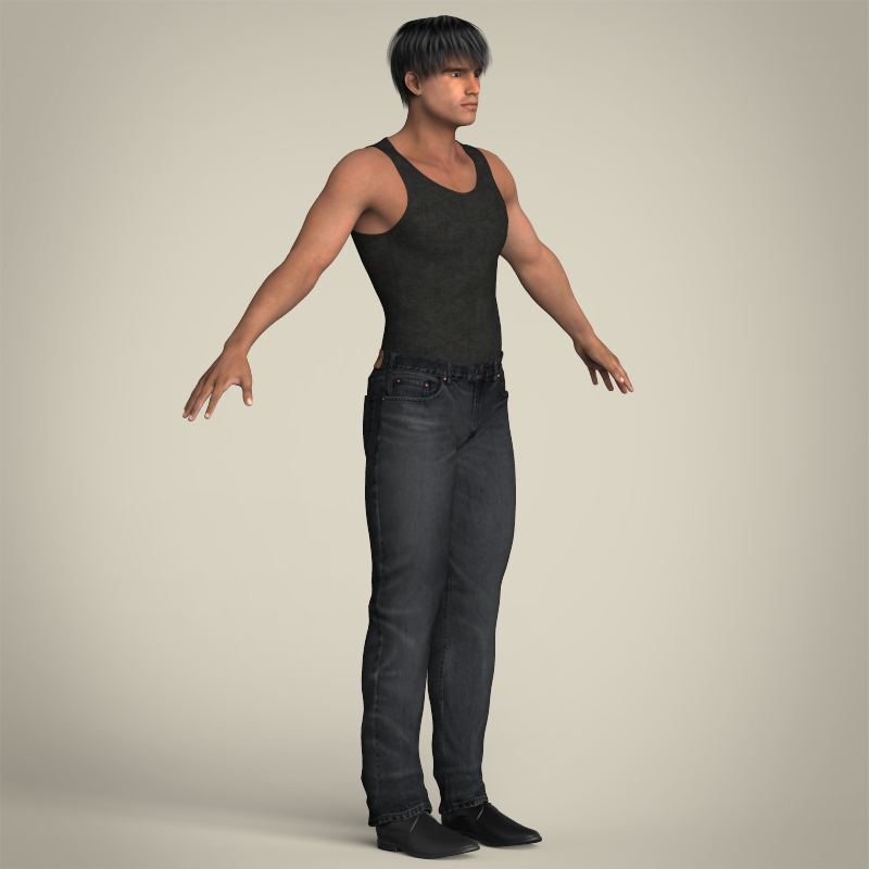 realistic muscular handsome guy 3d model 3ds max fbx c4d lwo ma mb texture obj 207256