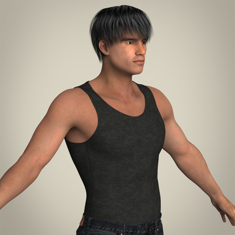 realistic muscular handsome guy 3d model 3ds max fbx c4d lwo ma mb texture obj 207257