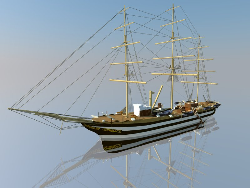 amerigo vespucci ship 3d model 3ds dxf dwg skp obj 207432