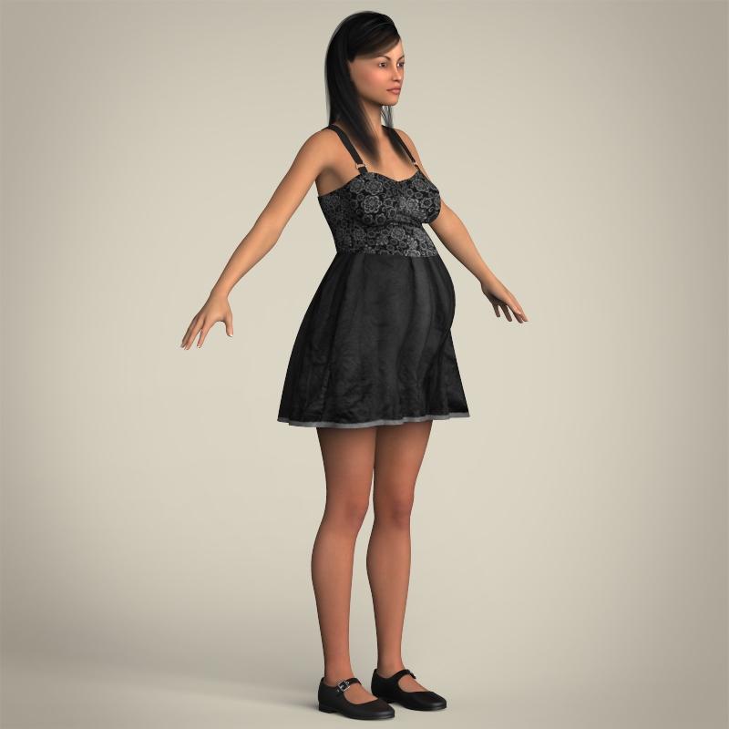 realistic pregnant woman 3d model 3ds max fbx c4d lwo ma mb texture obj 207453