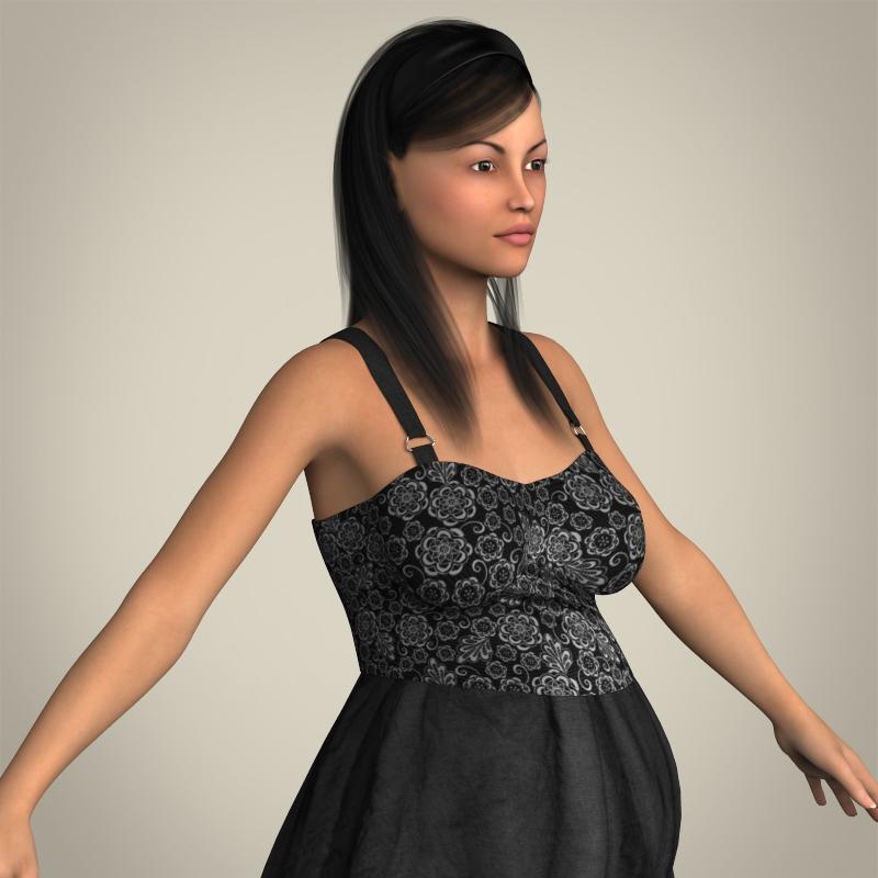 realistic pregnant woman 3d model 3ds max fbx c4d lwo ma mb texture obj 207454