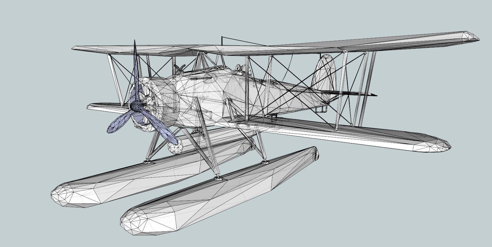 seaplane torpedo bomber 3d model 3ds dxf dwg skp obj 207467