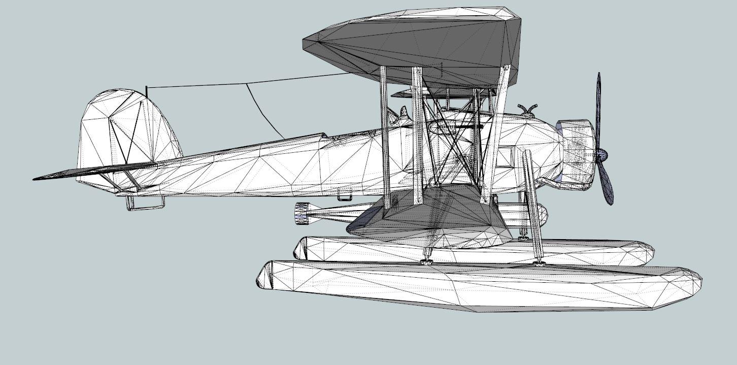 seaplane torpedo bomber 3d model 3ds dxf dwg skp obj 207469
