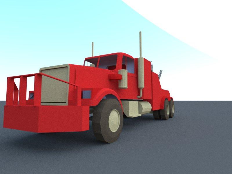 red truck 3d model 3ds dxf dwg skp obj 207609