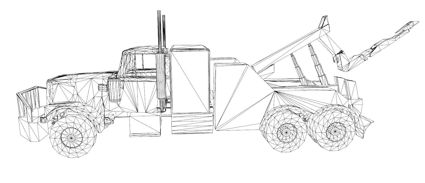 red truck 3d model 3ds dxf dwg skp obj 207612