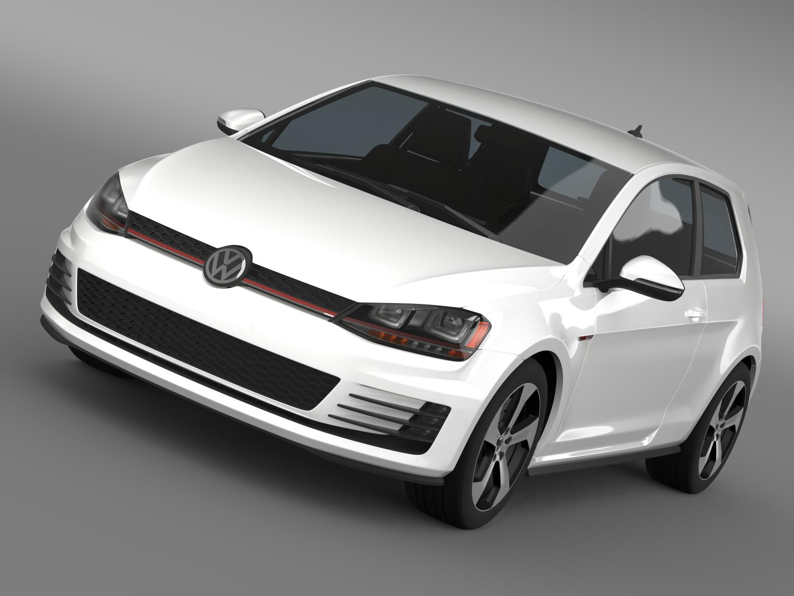 vw golf gti 3door 2015 3d model 3ds max fbx c4d lwo ma mb hrc xsi obj 207685