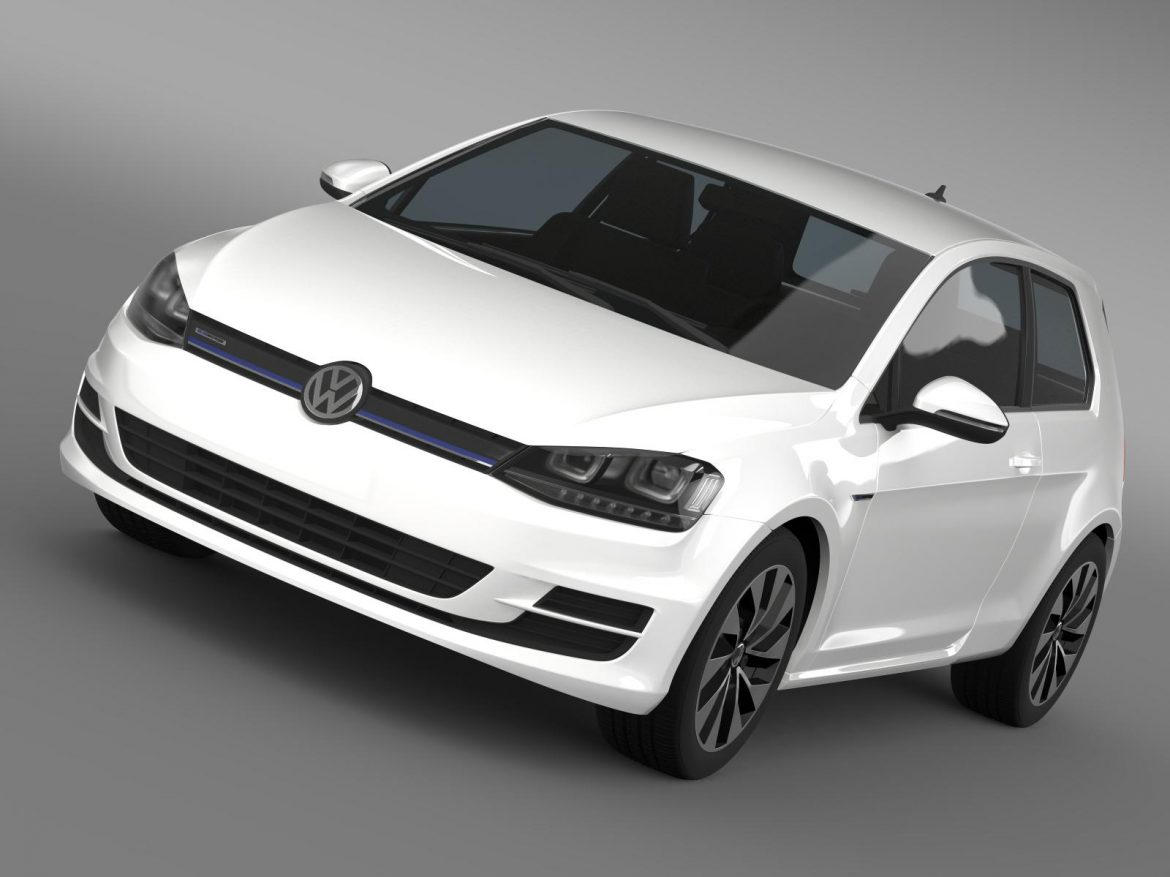 vw golf tdi bluemotion 3 door 2015 3d model 3ds max fbx c4d lwo ma mb hrc xsi obj 207705