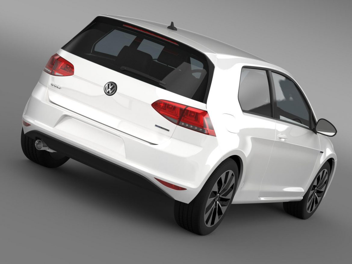 vw golf tdi bluemotion 3 door 2015 3d model 3ds max fbx c4d lwo ma mb hrc xsi obj 207706