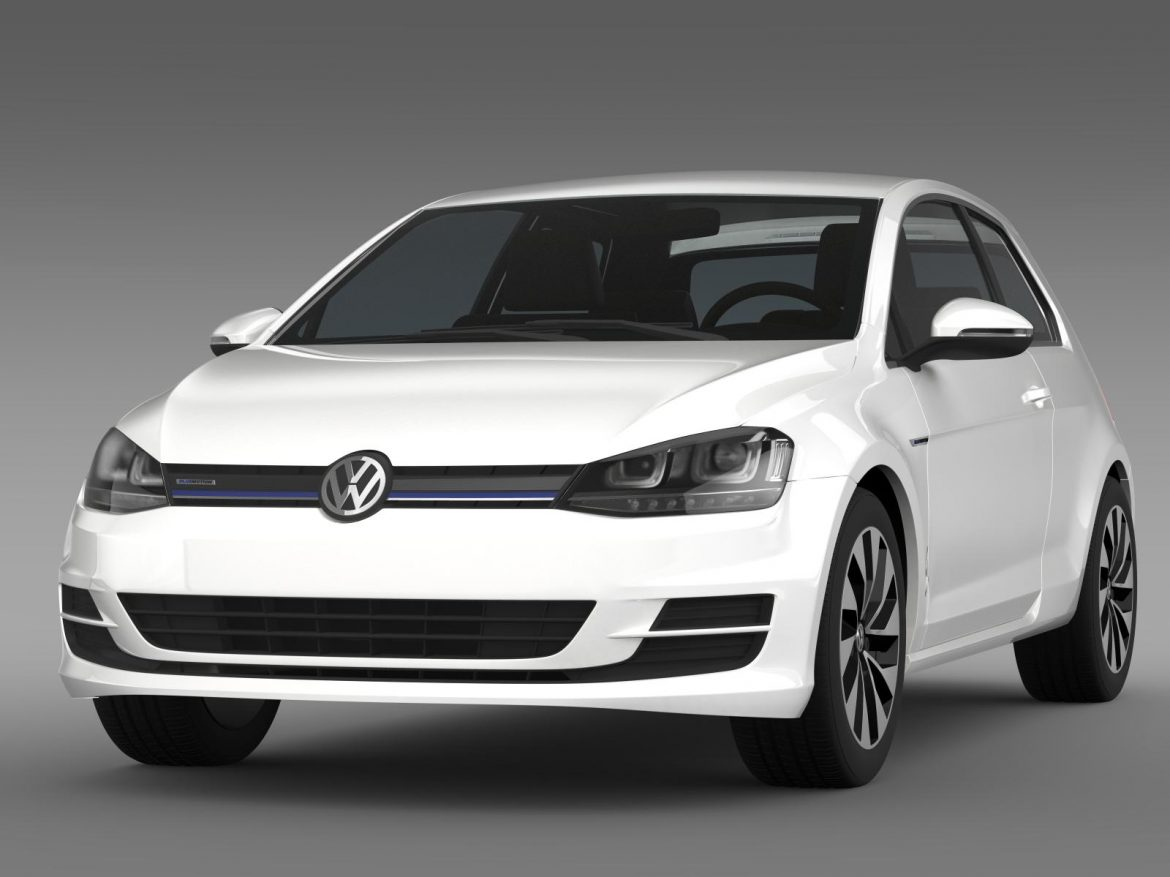 vw golf tdi bluemotion 3 door 2015 3d model 3ds max fbx c4d lwo ma mb hrc xsi obj 207707