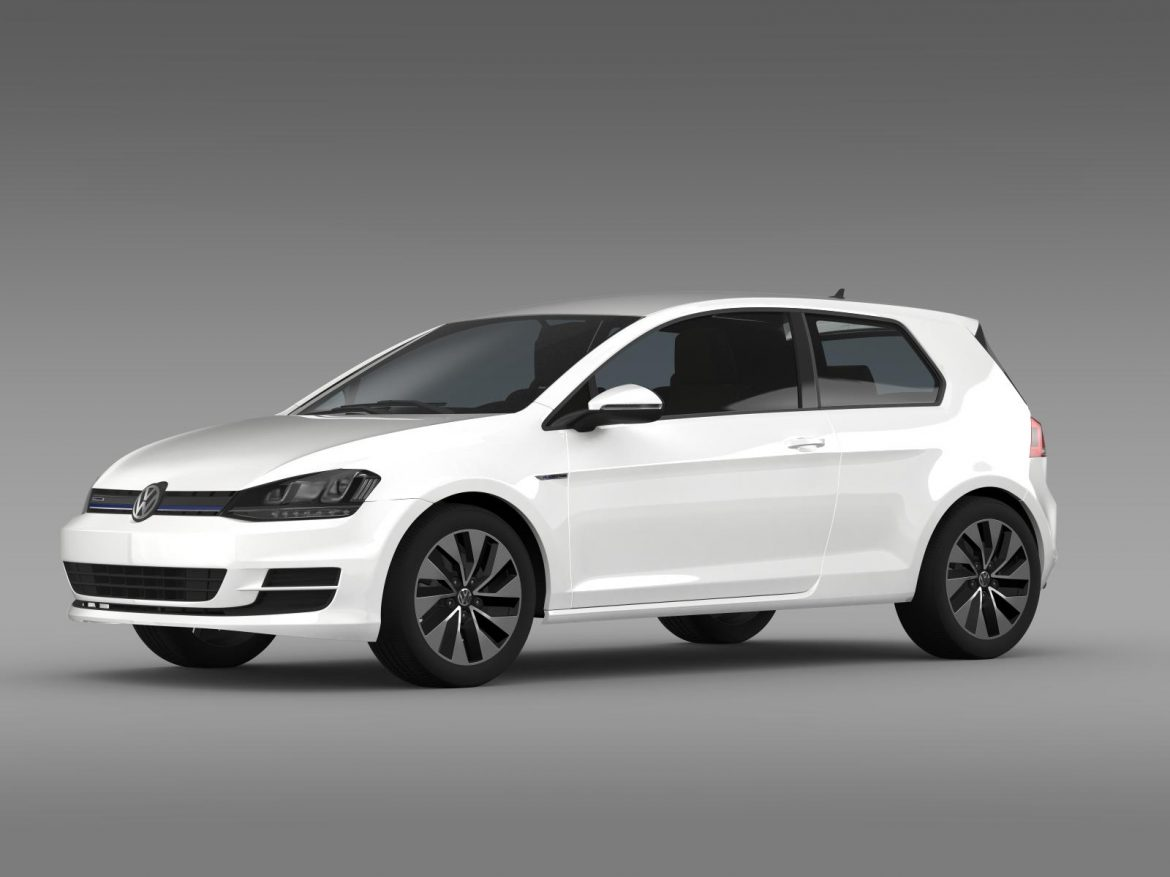 vw golf tdi bluemotion 3 door 2015 3d model 3ds max fbx c4d lwo ma mb hrc xsi obj 207709