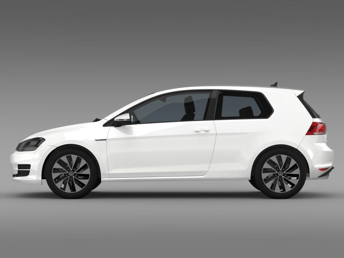 vw golf tdi bluemotion 3 door 2015 3d model 3ds max fbx c4d lwo ma mb hrc xsi obj 207710