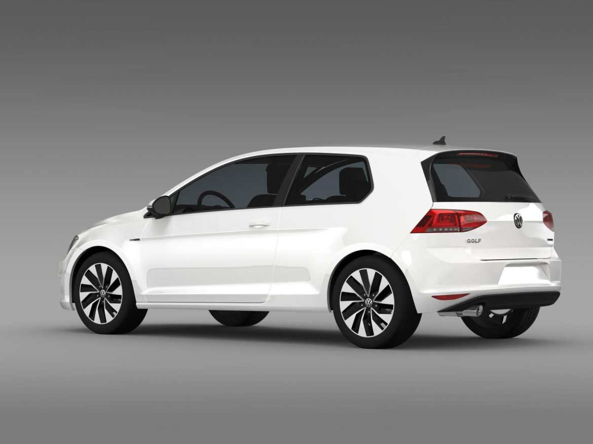vw golf tdi bluemotion 3 door 2015 3d model 3ds max fbx c4d lwo ma mb hrc xsi obj 207711