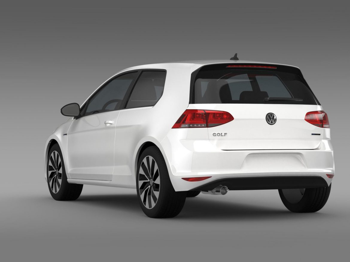 vw golf tdi bluemotion 3 door 2015 3d model 3ds max fbx c4d lwo ma mb hrc xsi obj 207712