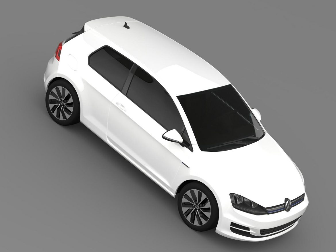 vw golf tdi bluemotion 3 door 2015 3d model 3ds max fbx c4d lwo ma mb hrc xsi obj 207716