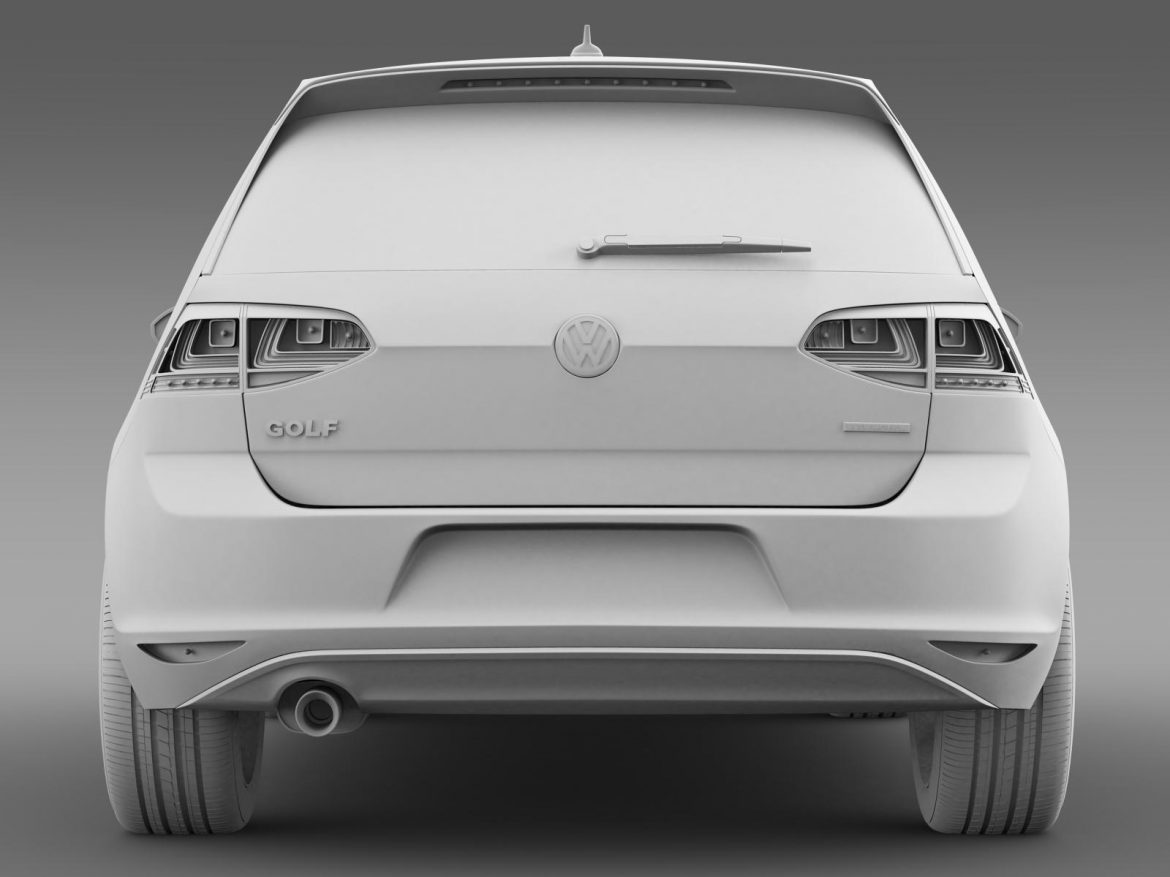 vw golf tdi bluemotion 3 door 2015 3d model 3ds max fbx c4d lwo ma mb hrc xsi obj 207718