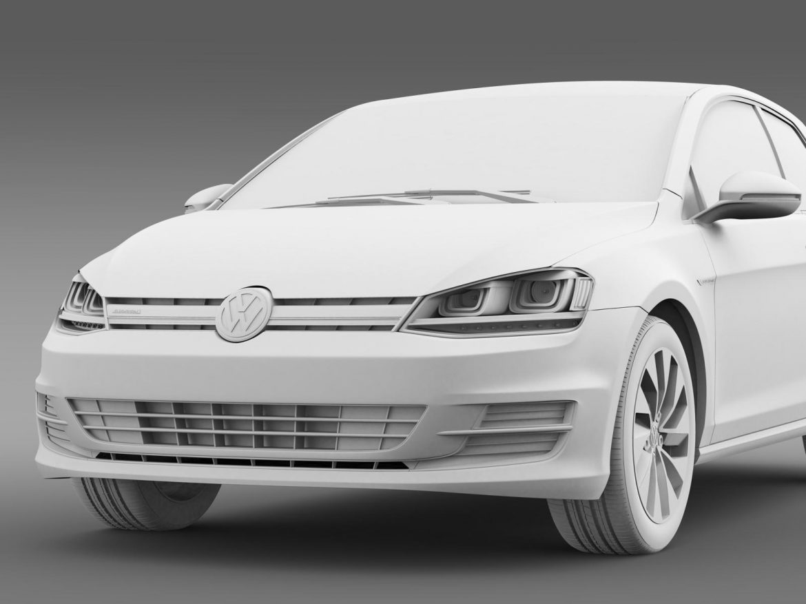 vw golf tdi bluemotion 3 door 2015 3d model 3ds max fbx c4d lwo ma mb hrc xsi obj 207719