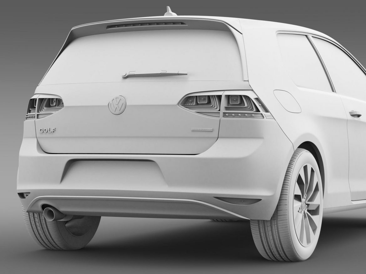 vw golf tdi bluemotion 3 door 2015 3d model 3ds max fbx c4d lwo ma mb hrc xsi obj 207720
