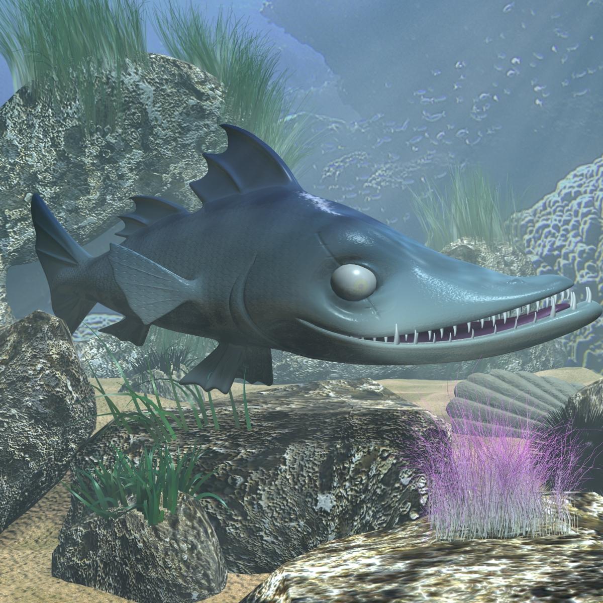 cartoon barracuda fish rigged 3d model 3ds max fbx  obj 207748