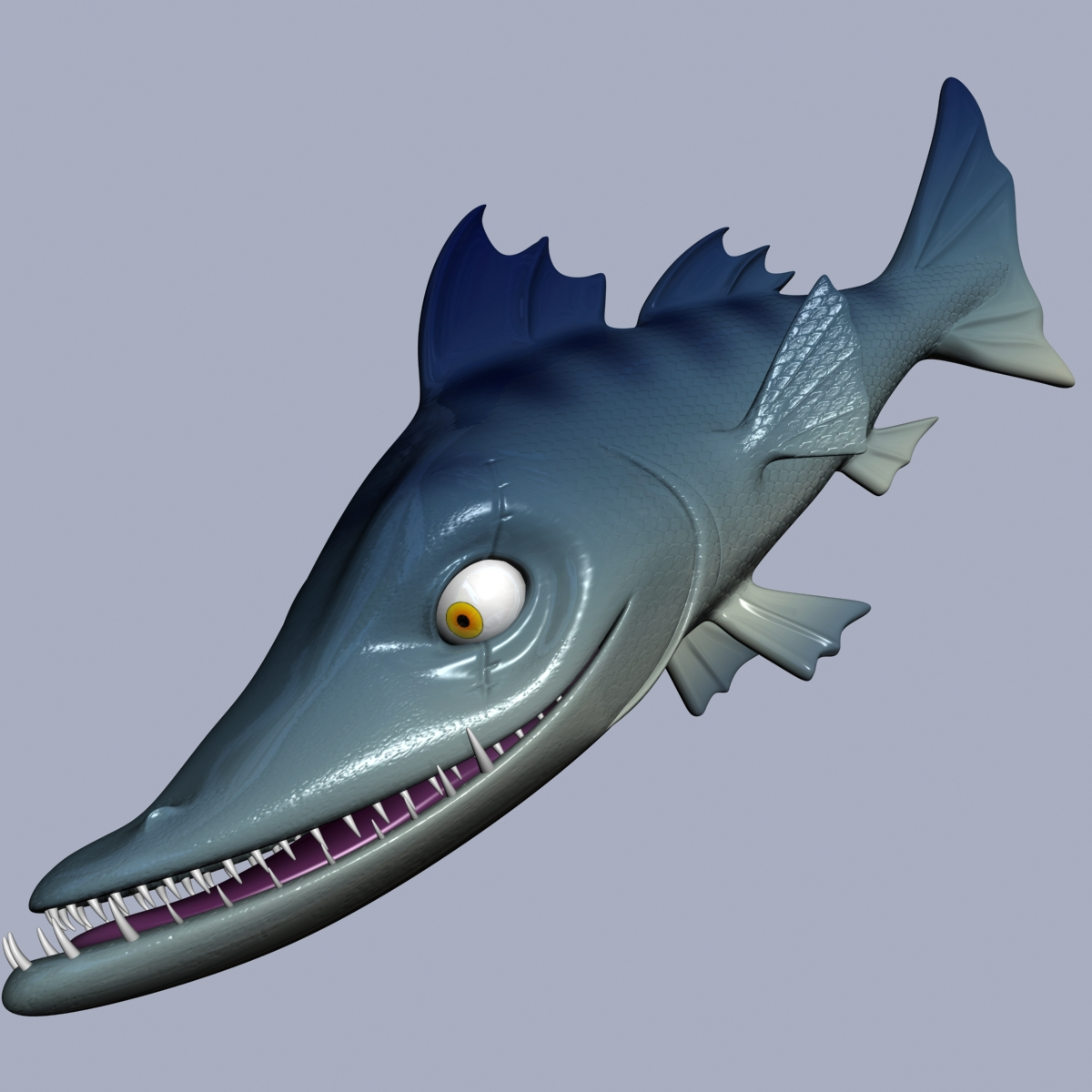 cartoon barracuda fish rigged 3d model 3ds max fbx  obj 207749