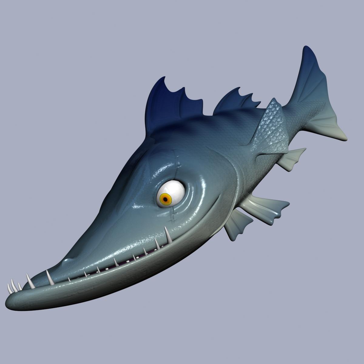 cartoon barracuda fish rigged 3d model 3ds max fbx  obj 207751