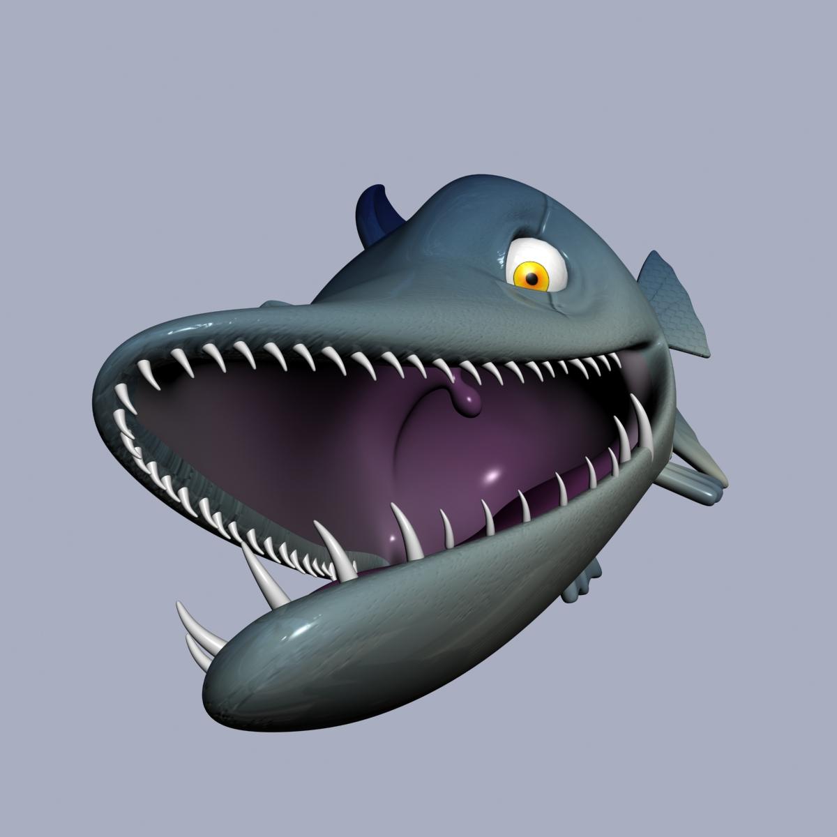 cartoon barracuda fish rigged 3d model 3ds max fbx  obj 207752