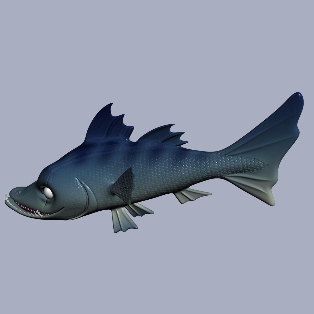 cartoon barracuda fish rigged 3d model 3ds max fbx  obj 207753