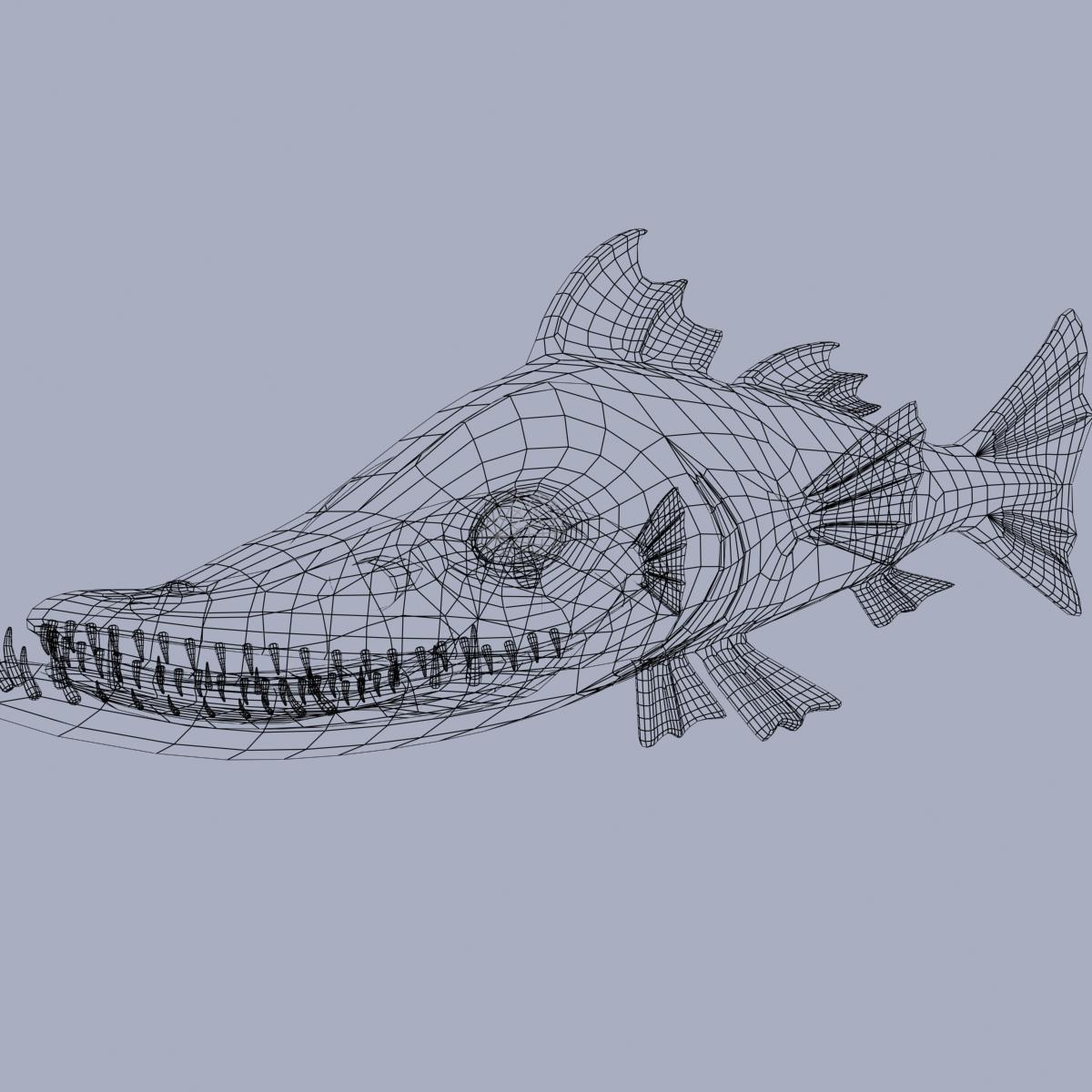 cartoon barracuda fish rigged 3d model 3ds max fbx  obj 207754