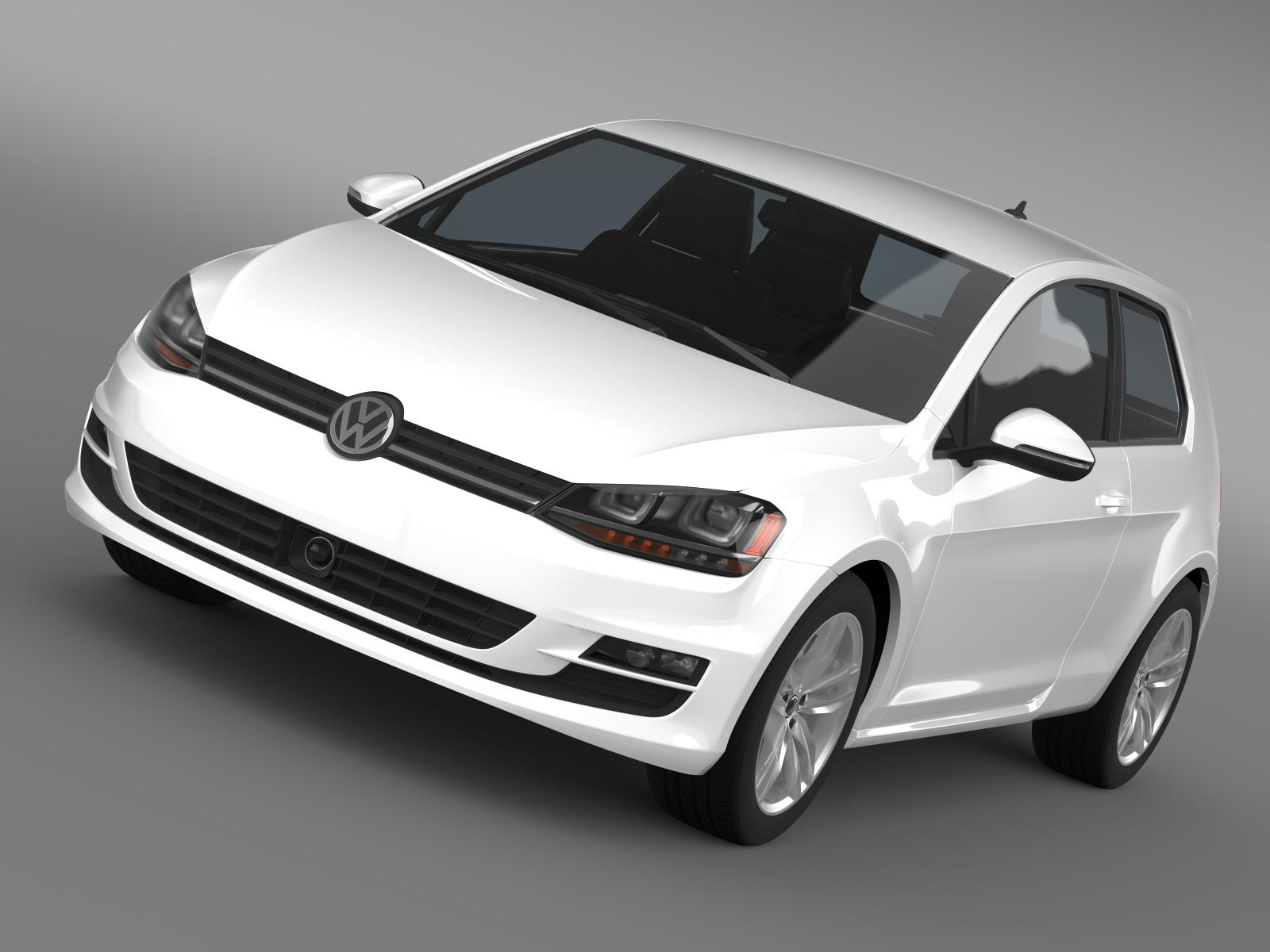 vw golf tsi bluemotion 3door 2015 3d model 3ds max fbx c4d lwo ma mb hrc xsi obj 207757