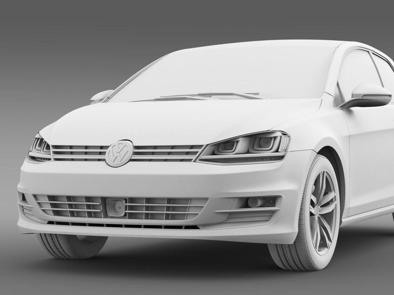 vw golf tsi bluemotion 3door 2015 3d model 3ds max fbx c4d lwo ma mb hrc xsi obj 207771