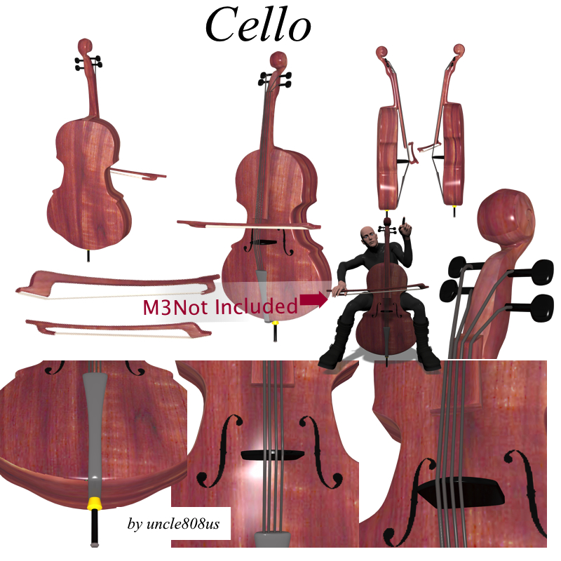 model cello 3d obj 208049