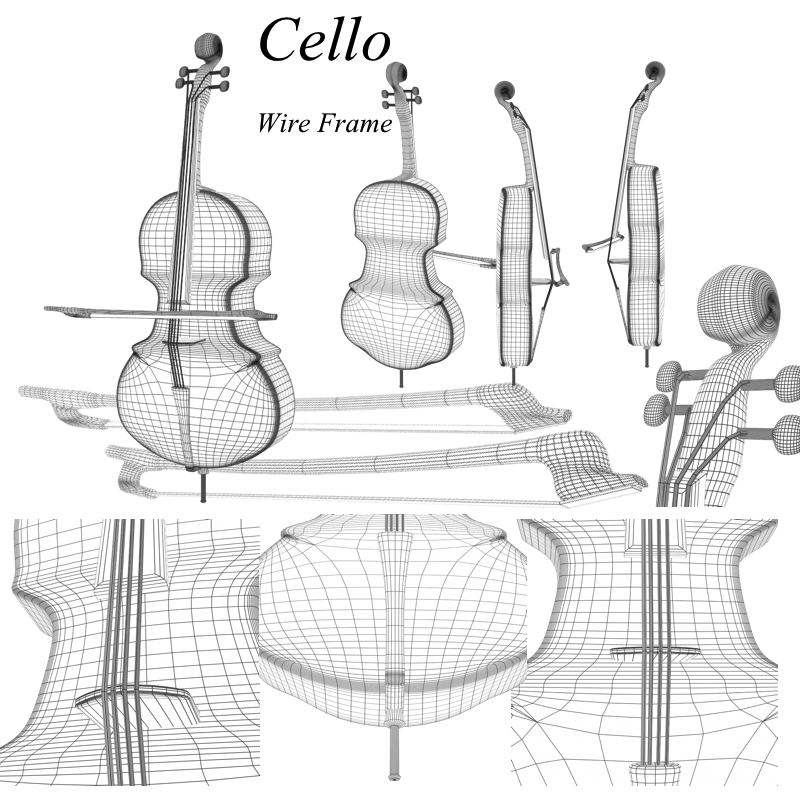 cello 3d model obj 208051
