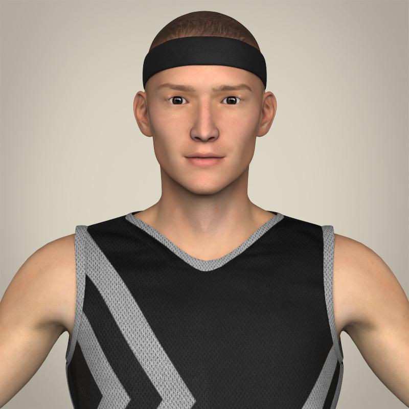 Realistic Male Basketball Player 3d model 3ds max fbx c4d lwo lws lw ma mb  obj 208079
