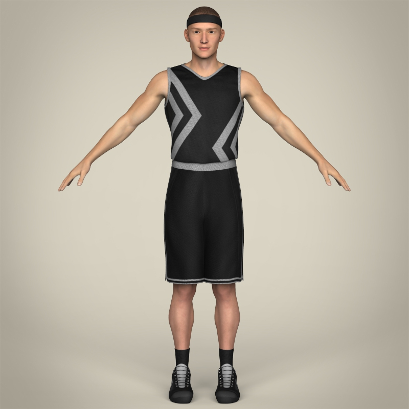 realistic male basketball player 3d model 3ds max fbx c4d lwo ma mb texture obj 208086