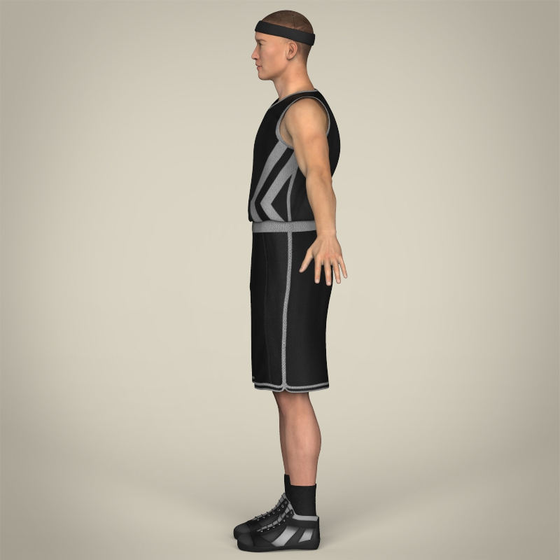 realistic male basketball player 3d model 3ds max fbx c4d lwo ma mb texture obj 208087