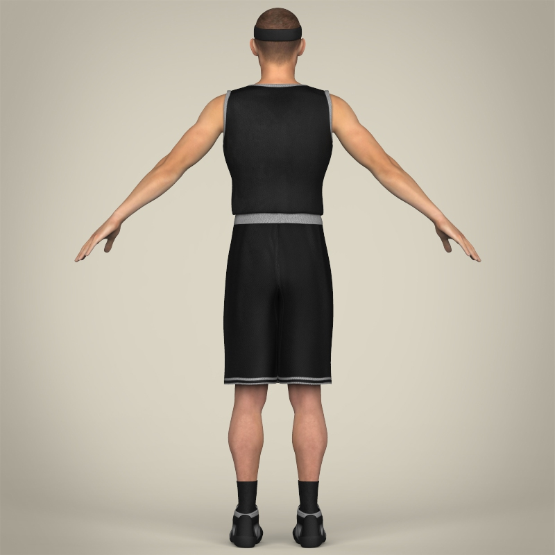 realistic male basketball player 3d model 3ds max fbx c4d lwo ma mb texture obj 208090
